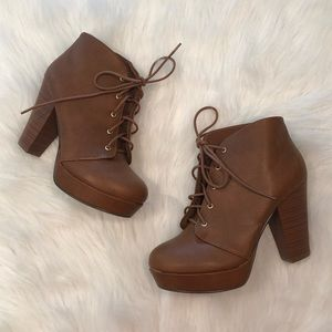New brown lace up booties